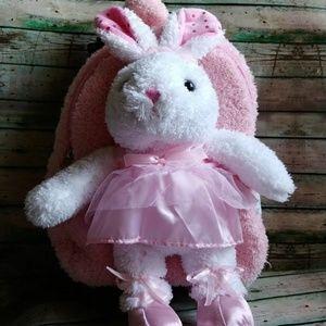 Popatu Plush Ballerina Bunny rolling backpack/suit